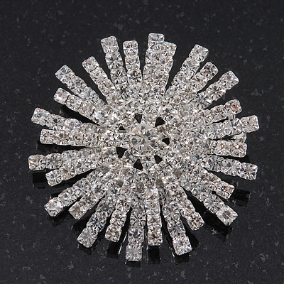 Clear Swarovski Crystal 'Christmas Snowflake' Brooch In Silver Plating - 4cm Diameter