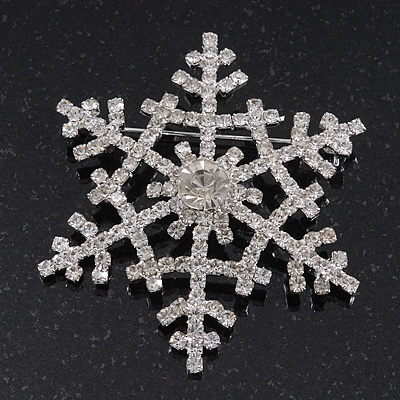 Clear Swarovski Crystal 'Christmas Snowflake' Brooch In Silver Plating - 5.5cm Diameter