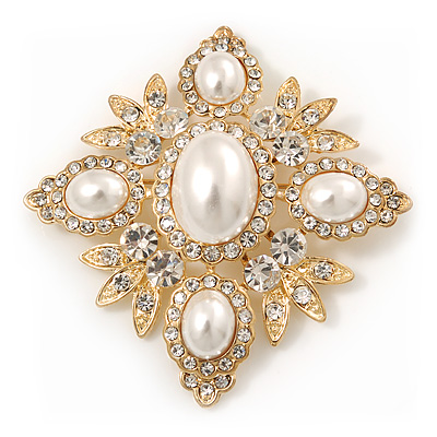 Bridal Swarovski Crystal Imitation Pearl Brooch In Gold Plating - 6cm Length