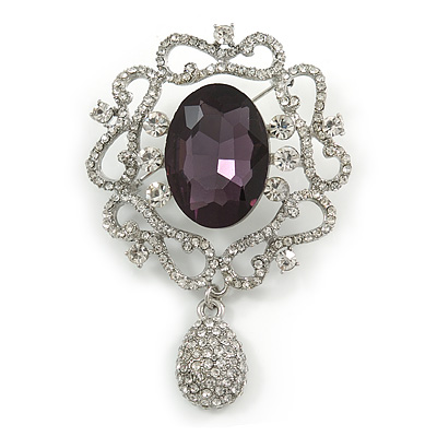 Swarovski Crystal and Violet Oval Jewel Filigree Drop Charm Brooch (Rhodium Plated) -  65mm Long - main view
