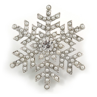 White Simulated Pearl 'Snowflake' Brooch In Rhodium Plating - 4.3cm Diameter