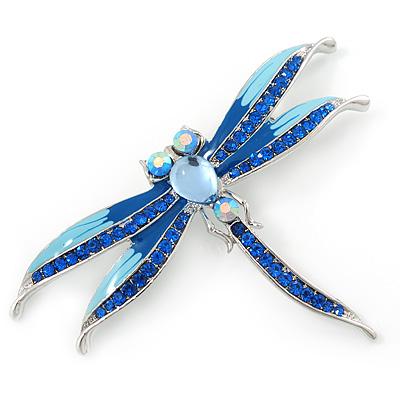 Dark/Light Blue Enamel Dragonfly Brooch In Rhodium Plating - 8cm Length
