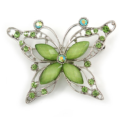 Pale Green Diamante Butterfly Brooch In Rhodium Plating - 55mm Across