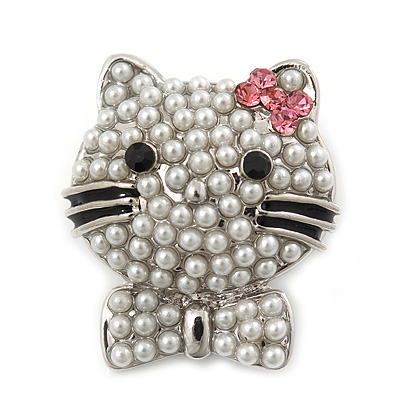 Cute Simulated Pearl Bead 'Cat With Pink Crystal Bow' Brooch In Rhodium Plating - 25mm Length - main view