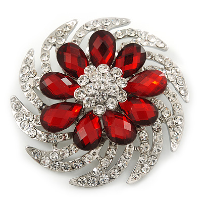 Dimensional Clear/ Ruby Red Coloured Crystal Corsage Brooch In Rhodium Plating - 5cm Diameter