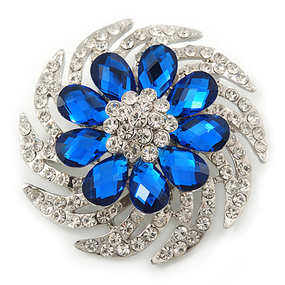 Dimensional Clear/Royal Blue Crystal Corsage Brooch In Rhodium Plating - 5cm Diameter