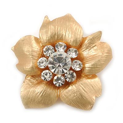 Brushed Gold Crystal Flower Brooch - 3.5cm Diameter