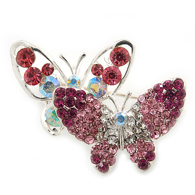 Pink/ Magenta/ AB Crystal Double Butterfly Brooch In Rhodium Plating - 35mm Width