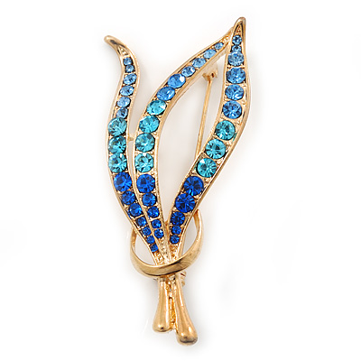 Gold Plated Diamante Fancy Brooch (Sky Blue, Azure, Sapphire Blue Colour) - 55mm Length
