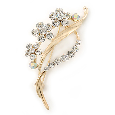 Clear/ AB Crystal 'Bunch Of Flowers' Brooch In Gold Plating - 62mm Length
