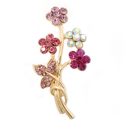 Pink/ Magenta/ AB Crystal 'Bunch Of Flowers' Brooch In Gold Plating - 50mm Length