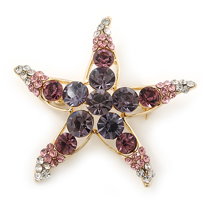 Purple/Pink/ Clear Crystal 'Starfish' Brooch In Gold Plating - 48mm Width - main view