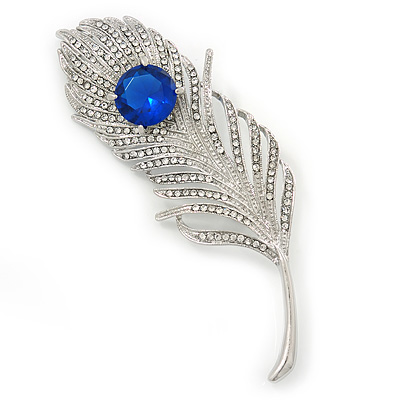 7.5cm Length Large Pink Glass Feather Corsage Brooch In Silver Plating