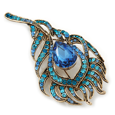647ade164f5 Vintage Blue/Teal Swarovski Crystal 'Peacock Feather' Brooch In Burn Gold - 8cm  Length - avalaya.com