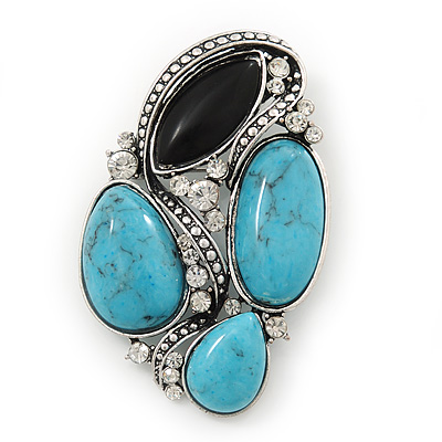 Vintage Asymmetrical Turquoise Stone, Crystal Brooch/ Pendant In Antique Silver Metal - 65mm Length