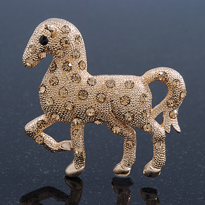 Gold Plated Textured Crystal 'Horse' Brooch - 55mm Width