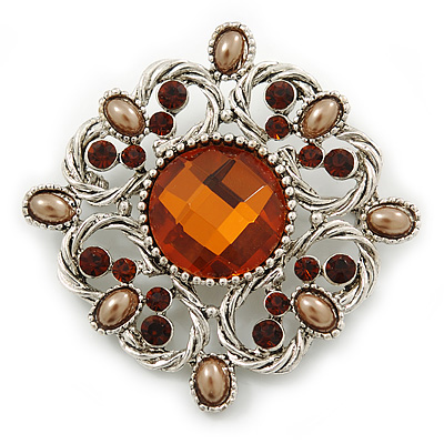 Vintage Filigree Amber Coloured Crystal Brooch In Silver Plating - 53mm Width
