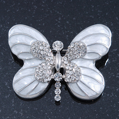 5ad8853a778 White Enamel Clear Crystal 'Butterfly' Brooch In Rhodium Plating ...