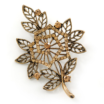 Vintage Filigree Citrine Crystal Floral Brooch In Antique Gold Metal - 8cm Length