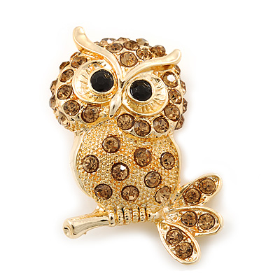 Cute Citrine Diamante 'Owl On The Branch' Brooch In Bright Gold Tone Metal - 45mm Length