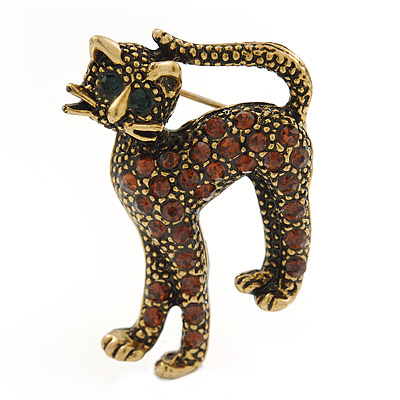 Adorable Diamante 'Cat' Brooch In Burn Gold Metal - 4cm Length