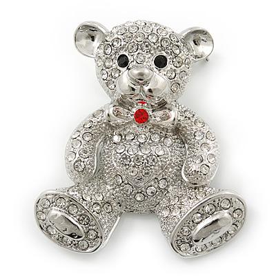 Rhodium Plated Crystal Teddy Bear With Bow&Heart Brooch - 45mm Across