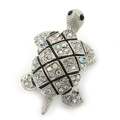 Small AB/ Clear Crystal 'Turtle' Brooch In Rhodium Plating - 40mm Across