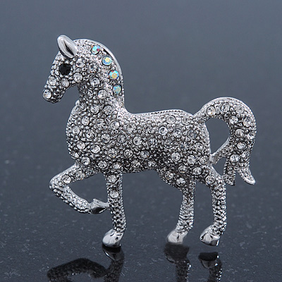 Small Rhodium Plated Pave Set Clear Crystal 'Horse' Brooch - 35mm Across - main view