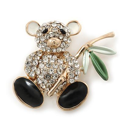 Cute Crystal 'Teddy Bear' Brooch In Gold Plating - 32mm Length