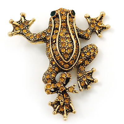 Gold Plated Citrine Crystal 'Frog With Bow' Brooch - 50mm Length - main view
