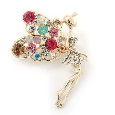Gold Plated Multicoloured Crystal 'Fairy' Brooch - 50mm Length