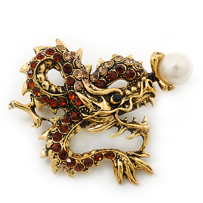 Classic Crystal Chinese Dragon Brooch With Simulated Pearl In Burn Gold Metal (Light Citrine/ Smokey Topaz Coloured) - 50mm Width