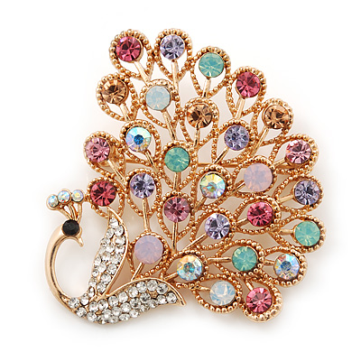 Gold Plated Multicoloured Swarovski Crystal 'Peacock' Brooch - 45mm Width