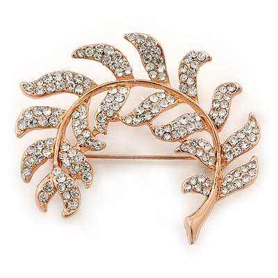 Rose Gold Plated Clear Swarovski 'Leaf' Brooch - 47mm Width