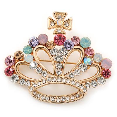 Gold Plated Multicoloured Swarovski Crystal 'Crown' Brooch - 45mm Width