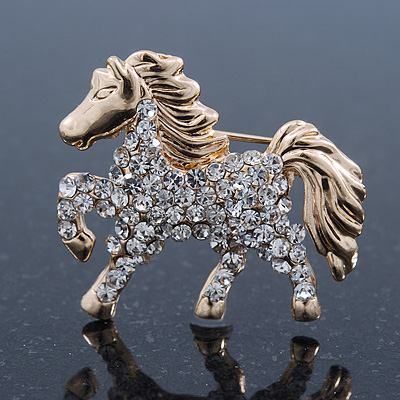 Small Gold Plated Crystal 'Horse' Brooch - 33mm Width