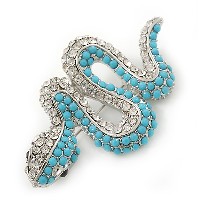 Turquoise Coloured Acrylic Bead, Crystal 'Snake' Brooch In Rhodium Plating - 65mm Length - main view