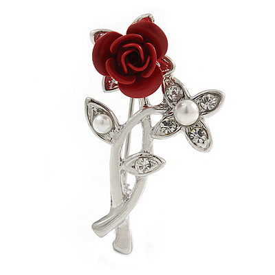 Classic Red Rose With Simulated Glass Pearls Brooch In Rhodium Plating - 35mm Across