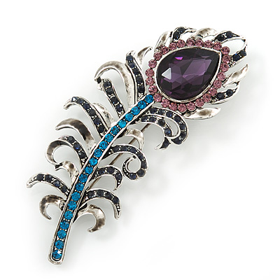 Stunning Vintage Inspired 'Peacock Feather' Brooch In Rhodium Plating (Teal/ Dark Blue/ Purple) - 80mm Length