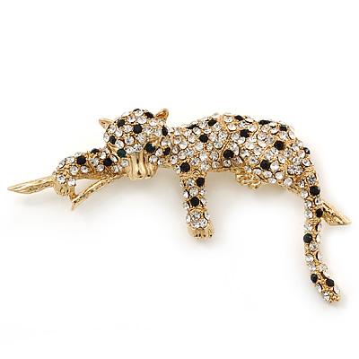 Black/ Clear Swarovski Crystal 'Leopard' Brooch In Gold Plating - 75mm Across