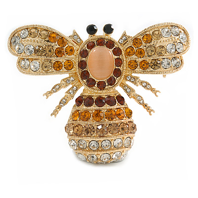 Stunning Large Swarovski Crystal 'Bumblebee' Brooch In Gold Plating (Clear/ Citrine/ Amber/ Topaz Coloured) - 60mm Width