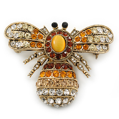 Stunning Large Swarovski Crystal 'Bumblebee' Brooch In Gold Plating (Clear/ Citrine/ Amber/ Topaz Coloured) - 60mm Width - main view