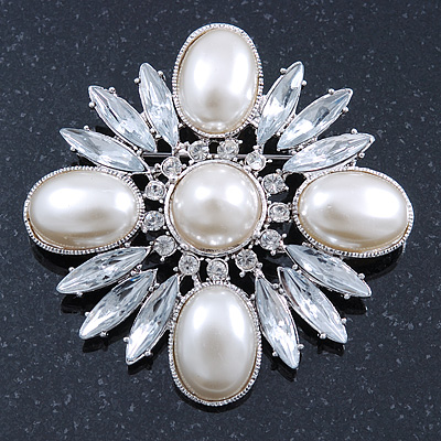 Bridal Vintage Inspired Clear Crystal, White Simulated Pearl Square Brooch In Rhodium Plating - 60mm Across