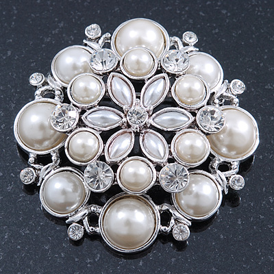 Large Layered Bridal Simulated Pearl, Crystal Brooch In Rhodium Plating - 60mm Diameter