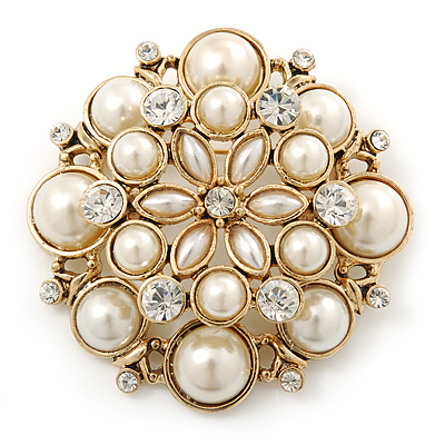 Large Layered Bridal Simulated Pearl, Crystal Brooch In Gold Plating - 60mm Diameter