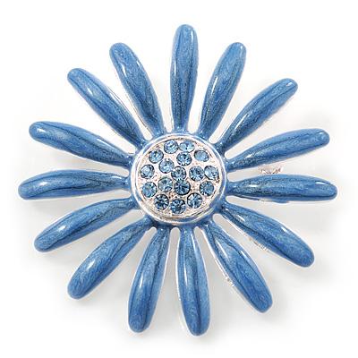 Light Blue Enamel Diamante 'Daisy' Brooch In Silver Plating - 50mm Diameter
