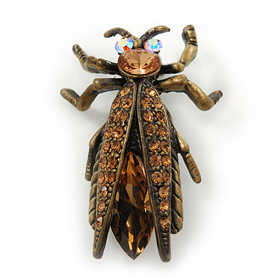 Vintage Inspired Ligth Amber Coloured Diamante 'Fly' Brooch In Bronze Tone - 35mm Length