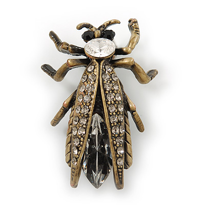 Vintage Inspired Clear Diamante 'Fly' Brooch In Bronze Tone - 35mm Length