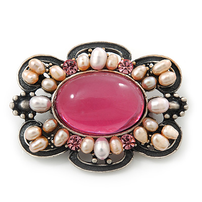 Vintage Inspired Pink Glass, Freshwater Pearl Oval Brooch In Antique Silver Tone - 48mm Width