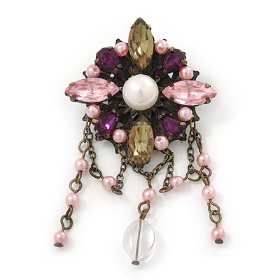 Vintage Inspired Multicoloured Simulated Pearl, Acrylic Bead Charm Brooch In Bronze Tone - 70mm Length